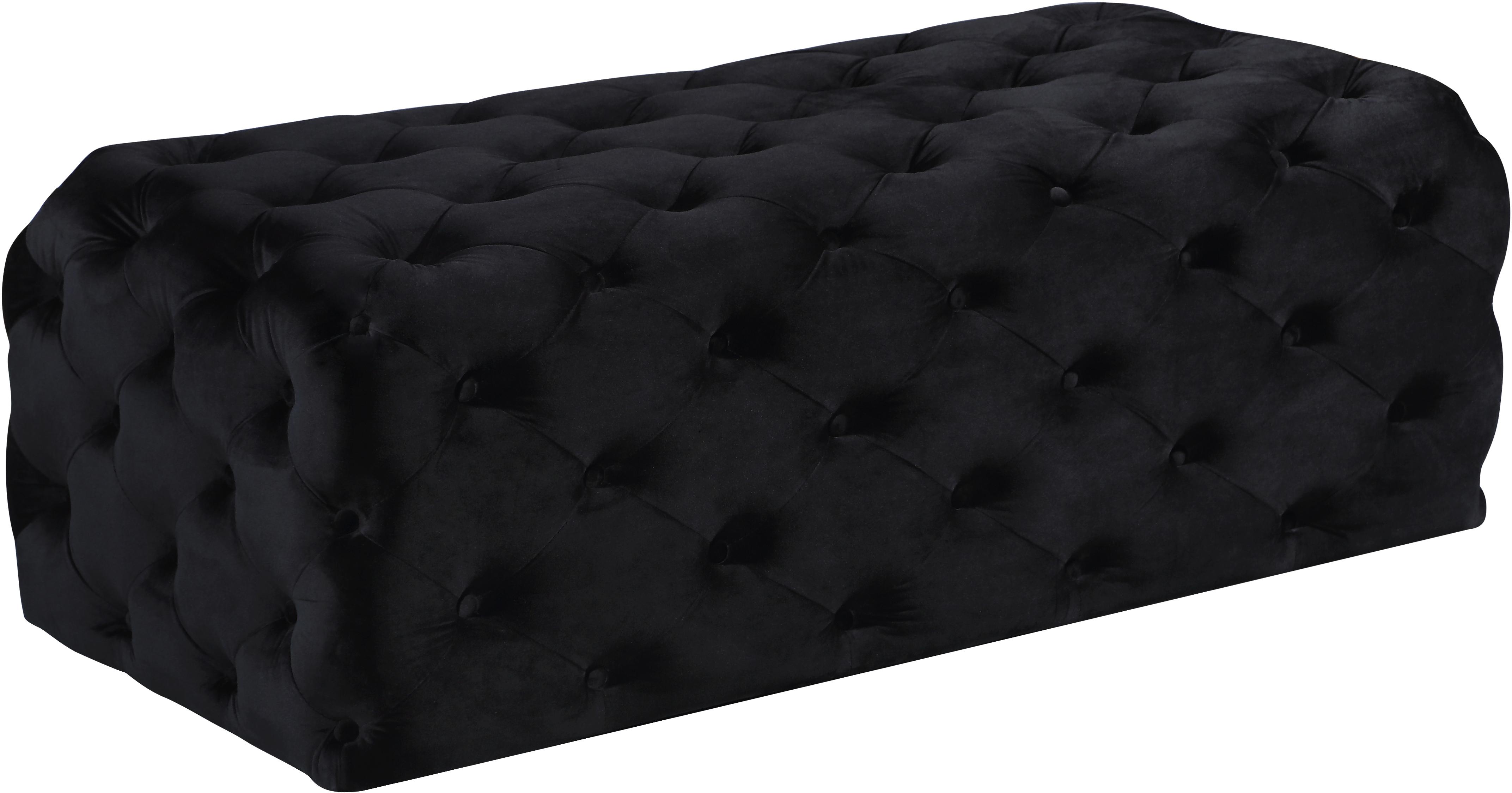 Casey Black Velvet Ottoman/Bench