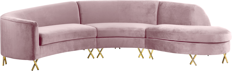 Serpentine Pink Velvet 3pc. Sectional